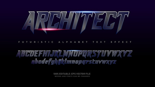 Caratteri alfabeto moderno architetto futuristico con effetto testo
