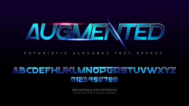 Caratteri alfabetici moderni futuristici aumentati con effetto testo