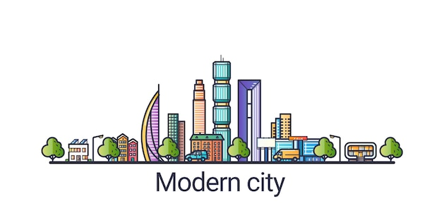 Moderna città futuristica eco in stile linea piatta. linea artistica. tutti gli oggetti lineari separati e personalizzabili.
