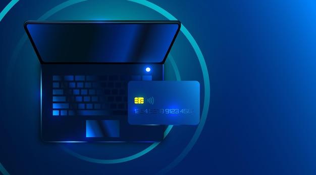 Computer portatile futuristico moderno con carta di credito, pagamento in linea di internet banking