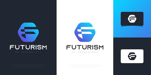 Design moderno e futuristico della lettera f logo in sfumatura blu. simbolo grafico dell'alfabeto per l'identità aziendale aziendale