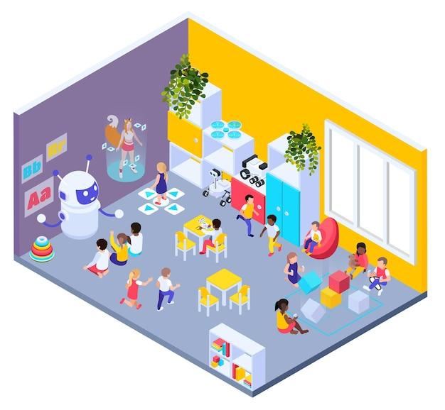 Composizione isometrica nel campo da giuoco futuristico moderno con la vista della stanza dell'asilo con i bambini e l'illustrazione degli insegnanti di scuola materna del robot