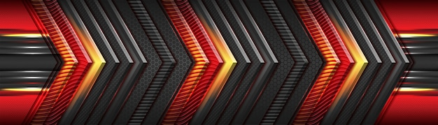 Moderno rosso futuristico e grigio scuro con design a sovrapposizione di lusso in direzione metallizzata oro