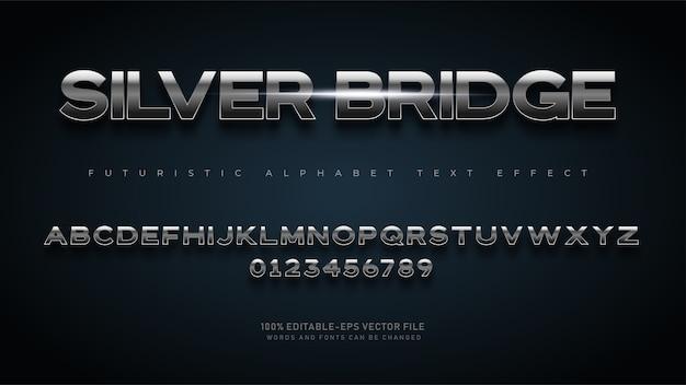 Caratteri alfabetici moderni futuristici silver bridge con effetto testo