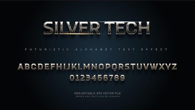 Caratteri alfabetici moderni futuristici silver tech con effetto testo