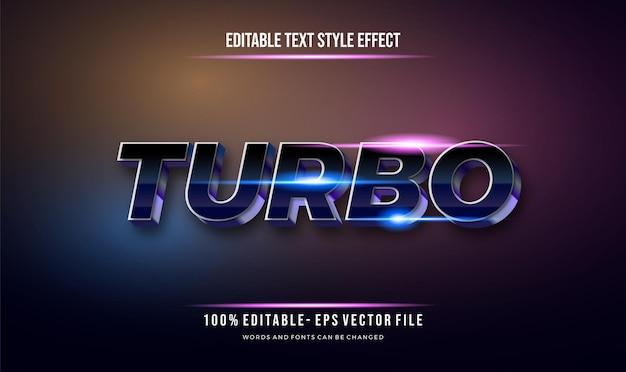 Stile futuristico moderno e stile di testo modificabile effetto blu lucido. effetto di testo modificabile vettoriale