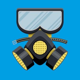 Respiratore moderno con maschera antigas. attrezzature antincendio.