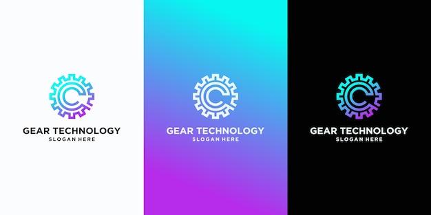 Design moderno del logo della tecnologia gear