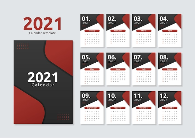 Modello di calendario 2021 geometrico moderno