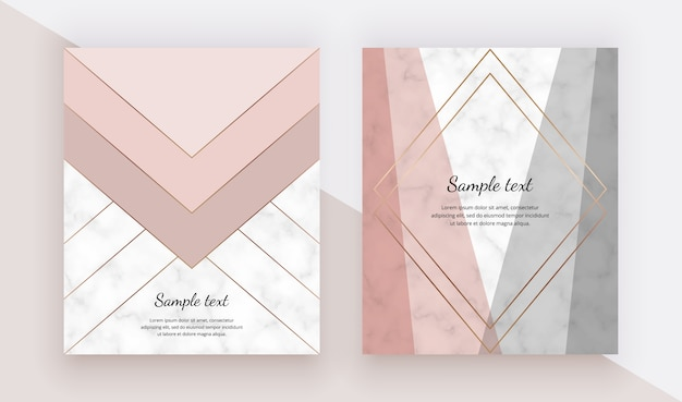 Moderna copertina geometrica con triangoli rosa, grigi e linee dorate sulla trama del marmo.