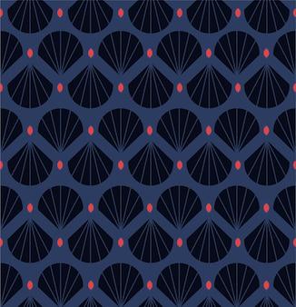 Guscio decorativo geometrico moderno, foglie seamless pattern. con punto rosso in stile retrò