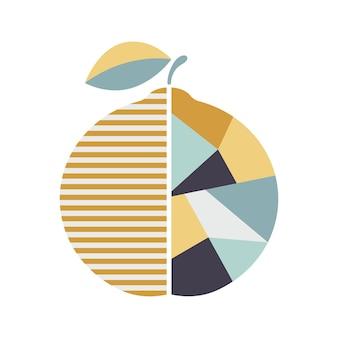 Moderna illustrazione geometrica arancione poster di frutta moderna