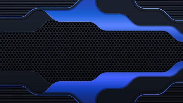 La geometria moderna forma linee nere con bordi blu su sfondo scuro. lussuose linee blu brillante layout del telaio metallico. illustrazione vettoriale