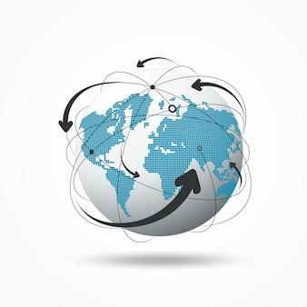 Illustrazione moderna di vettore di progettazione della rete dei collegamenti del globo