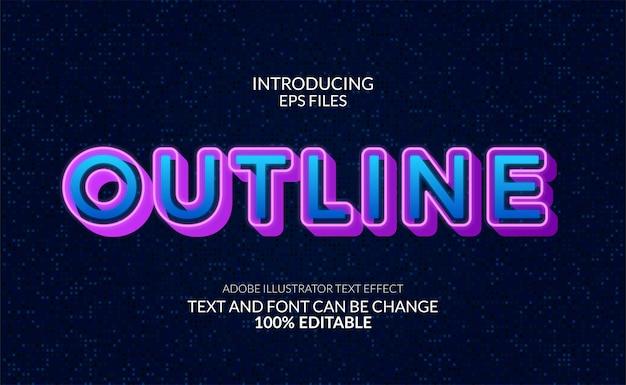 Effetto di testo al neon bagliore moderno. carattere e testo modificabili