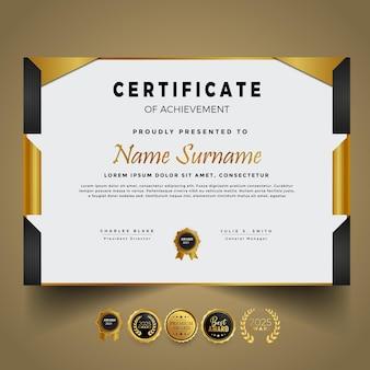 Design moderno del modello di certificato d'oro