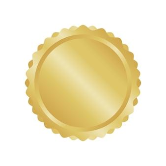 Distintivo in metallo moderno cerchio d'oro, etichette ed elementi di design. illustrazione vettoriale.
