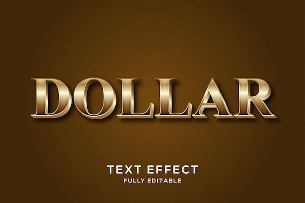 Moderna effetto testo dollaro d'oro