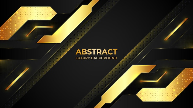 Modello di sfondo di lusso dorato moderno con forme geometriche e con motivo dorato.
