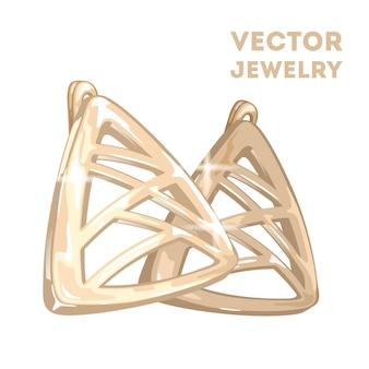 Orecchini moderni a forma di triangolo dorato con linee che si intersecano.