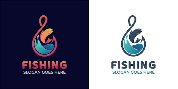 Loghi sfumati moderni di amo da pesca con oceano ondulato con pesce fresco per la pesca e logo del pescatore