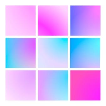 Set gradiente moderno con sfondi astratti quadrati