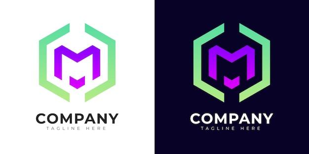 Modello di progettazione del logo della lettera m iniziale in stile sfumato moderno