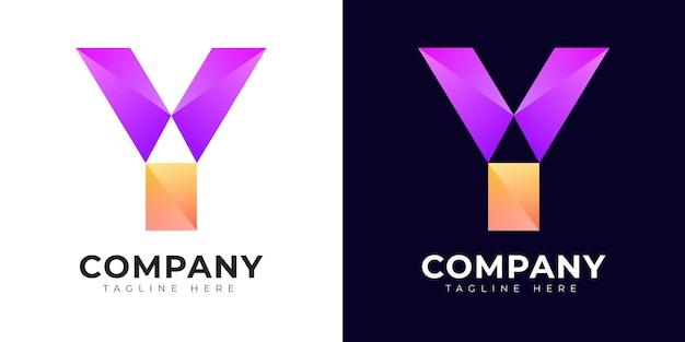 Modello di progettazione del logo con lettera iniziale y in stile moderno sfumato