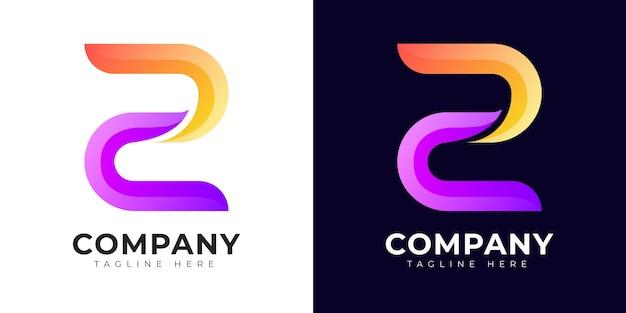 Logo della lettera z iniziale in stile moderno sfumato