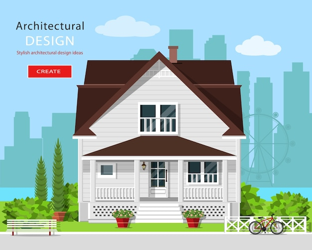Architettura grafica moderna. casa carina colorata con cortile, panchina, alberi, fiori e sfondo della città. elegante casa europea. illustrazione.