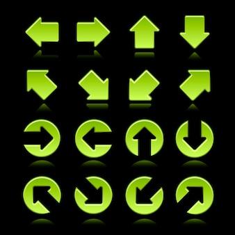 Frecce verdi moderne impostate su sfondo nero