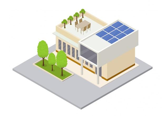 Moderna casa ecologica verde con pannelli solari Vettore Premium