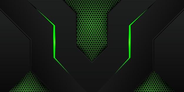 Sfondo di gioco verde moderno con motivo esagonale