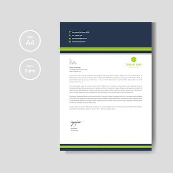 Modello di layout di carta intestata verde moderno