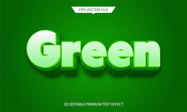 Effetto di testo modificabile 3d colorato verde e natura Vettore Premium
