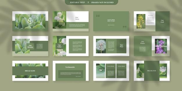 Modello di diapositive powerpoint verde moderno