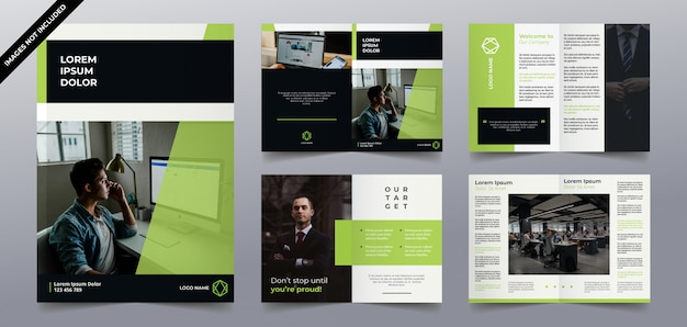 Progettazione di pagine brochure moderna tecnologia verde