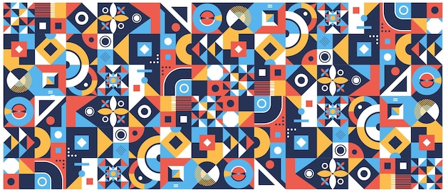 Moderno volantino a griglia con grafica geometrica di forme geometriche e set di sfondo astratto