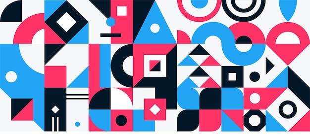 Volantino moderno a griglia con grafica geometrica di forme geometriche e sfondo astratto