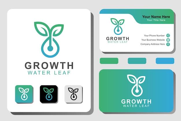 Logo moderno della pianta di crescita. goccia d'acqua linea giardino con modello di concetto di logo foglia