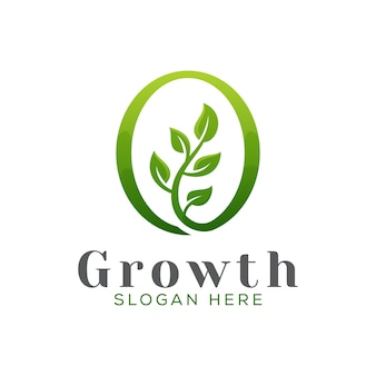 Logo moderno dell'albero di crescita, modello verde di vettore di progettazione di logo della foglia del giardino