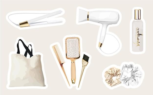 Collezione moderna di adesivi per parrucchieri con strumenti per parrucchieri e prodotti per capelli