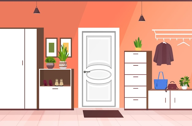 Corridoio interno moderno vuoto nessun corridoio della casa della gente con l'illustrazione di vettore orizzontale della mobilia
