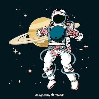 Personaggio moderno astronauta disegnato a mano