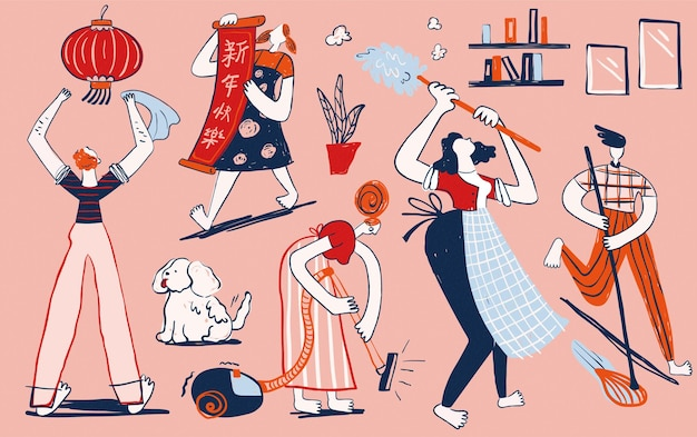 Famiglia moderna in stile disegnato a mano che fa le pulizie di primavera in tono rosa