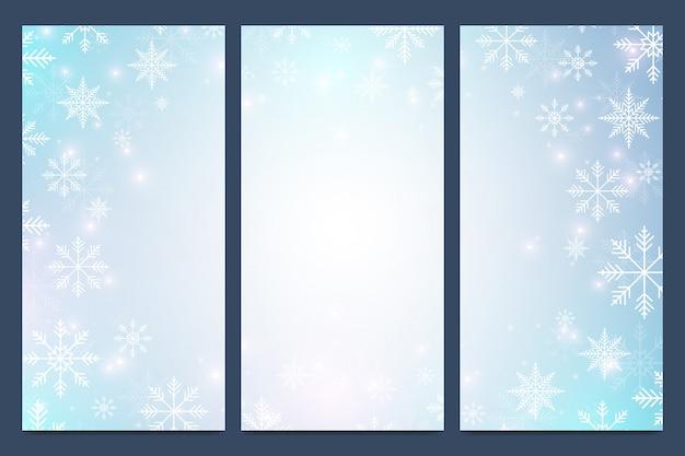 Felice anno nuovo moderno set di volantini. sfondo di natale. modelli di design con fiocchi di neve. superficie di biglietti d'invito.