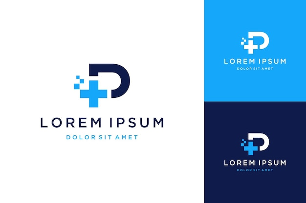 Logo o monogramma di design sanitario moderno o lettera iniziale p con più e pixel