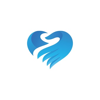 Icona moderna del logo del cuore e della mano con stile di colore sfumato