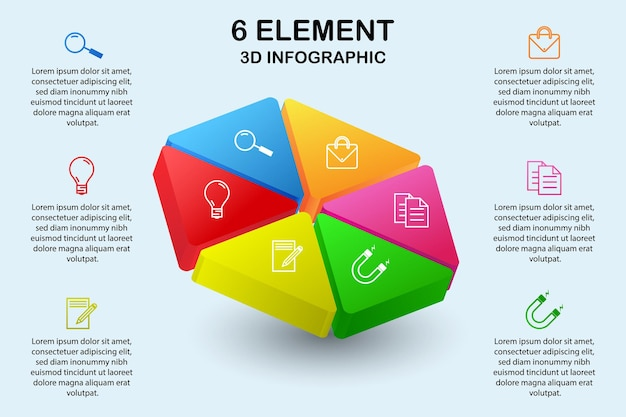 Diagramma infografico 3d esagono moderno con 6 elementi