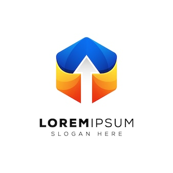 Freccia moderna esagonale su logo design